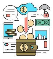 Lineare Finanz- und Bankwesen-Vektor-Elemente