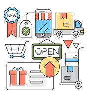 Linear Online Shopping Vector Illustration