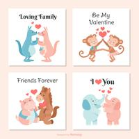 Cute Creatures In Love Vector Valentine Cards