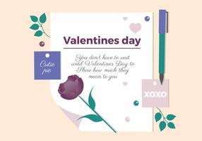 Diseño de carta de vector de San Valentín