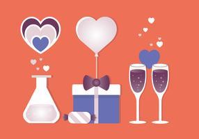 Elementos de tarjeta de felicitación de vector de San Valentín
