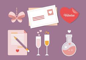 Elementos do cartão do vetor do dia dos namorados