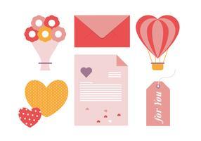 Illustrazione degli elementi della cartolina d'auguri di vettore di San Valentino