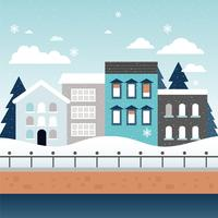 Vector Winter Cityscape Illustratie
