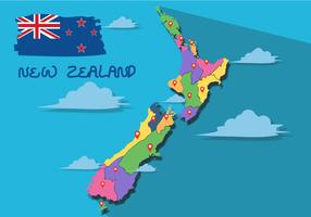 Platte kaart van Nieuw-Zeeland