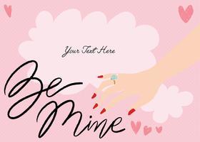 Valentine-kaart Hand getrokken Vector