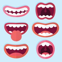 Flat Mouth Expression Collection Vector