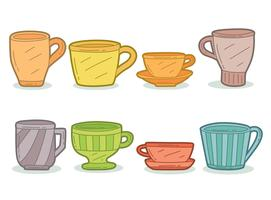 Hand Drawn Colored Crockery Collection Vector
