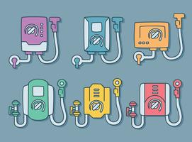 Vector de calentador de agua dibujado a mano de colores