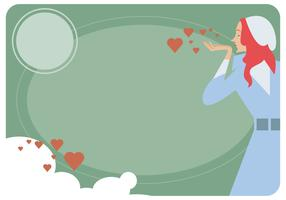 Girl Valentine Card Vector