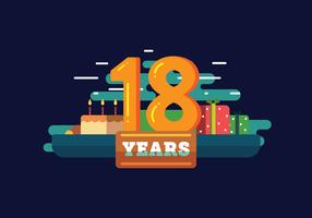 18 år födelsedagsvektor