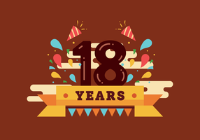 18 years birthday vector