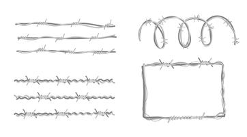 Razor Wire Collection Vector Flat