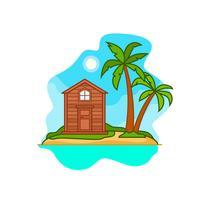 Eenzaam huis op een eiland