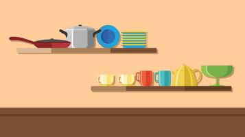 Crockery On The Wall Shelf Vector