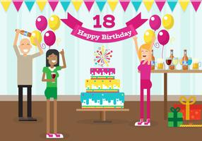 My 18 Years Birthday Party With Friends Free Vector Illustration
