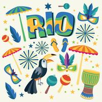 Rio Design Set With Objects On Background vetor
