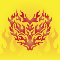 Herz durch Flammenvektor
