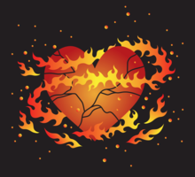 Flammande Broken Heart Vector
