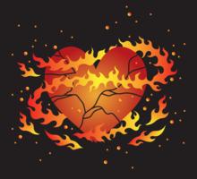Vecteur de coeur brisé enflammé