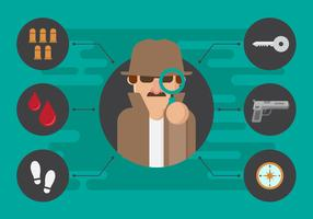 Gratuit Detective and Clue Vector Illustration