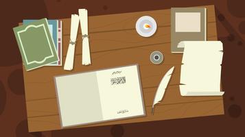 vettore dello spazio di lavoro della scrivania dello scrivano