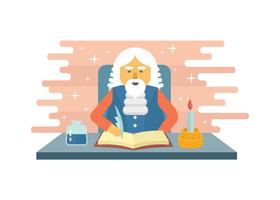 Medieval Scribe Character Illustration vector