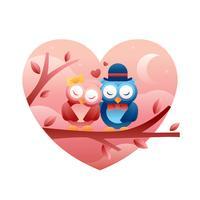 Owl In Love Vector