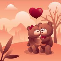 Ours en amour vecteur
