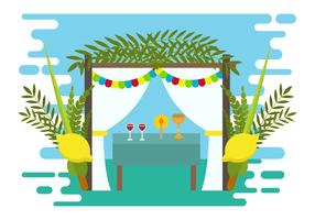 Decorative Sukkah Vector Illustration
