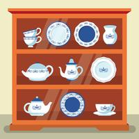 Flat Crockery Set Vector Illustration