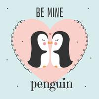 Be Mine Penguin Valentine Card Vector
