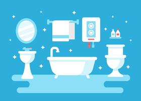 Bathroom With Water Heater Vector