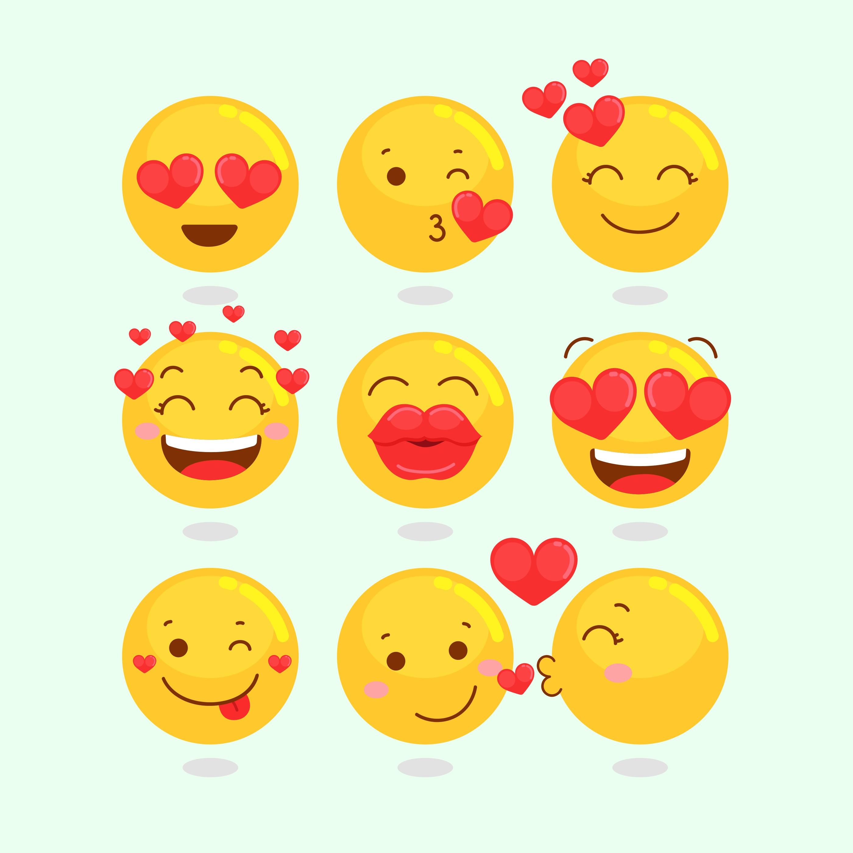 Valentine Emoji Ensemble Telecharger Vectoriel Gratuit Clipart