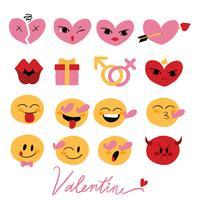 Valentinsgruß Emoji Hand gezeichneter gesetzter Vektor
