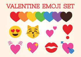 Valentinsgruß Emoji gesetzter Vektor