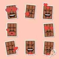 Chocolate Valentines day emoticon Set