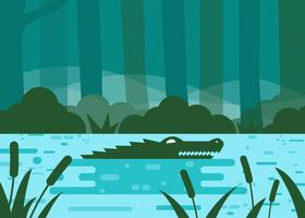 Bayou With Crocodile Vector