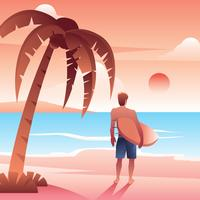 Palmier Surfer Sunset Beach Vector Gratis