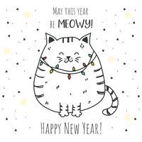 Gato año nuevo Vector