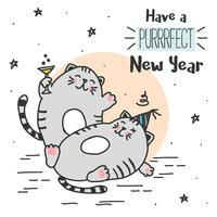 Purrrfect Año Nuevo Vector