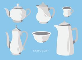Crockery Set Vector Flat Illustration
