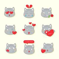 Cute cat emote for valentine vector