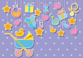 Gullig Baby Shower Illustration