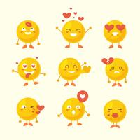 Cute yellow emoji for valentine vector