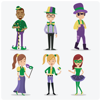 Mardi gras people vector