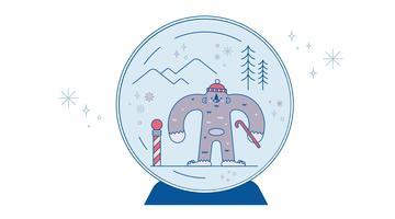 Schneekugel-Yeti-Vektor