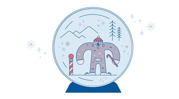 Snow Globe Yeti Vector