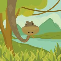 Wildes Anaconda, das an der Baum-Illustration hängt