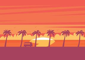 Strand-Sonnenuntergang-Illustration